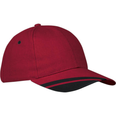 The 6 Panel Hyper Cap is a heavy brushed cotton cap with red 6 structured panel body and a velcro closure. The pre curved peak has contrasting black panel inserts and matching embroidered eyelets