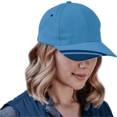The 6 Panel Hyper cap in sky blue with navy panel inserts on display