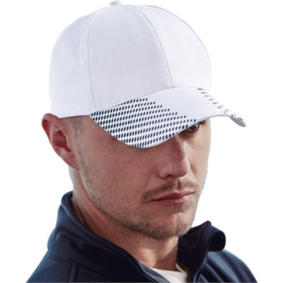 The 6 Panel Dash Cap is a cotton twill fabric cap in white with 6 structured panels and a low profile pre curved peak with contrasting black circuclar dot like design on it