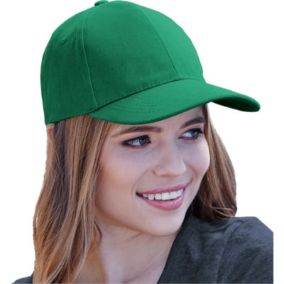the 6 Panel Brushed Cotton Cap is a heavy brushed cotton fabric emerald cap with a velcro closure and low profile pre curved peak