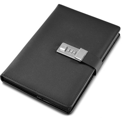 The Alex Varga Chapman Code-Lock Notebook Has A 3 Code Lock And The Lock Straps Around So That You Can Not Open The Black Rectangular Notebook Without The Correct Code