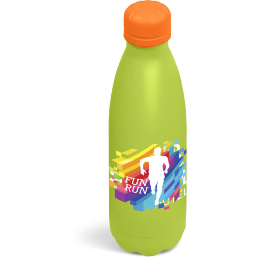 The Kooshty Wahoo Vacuum Water Bottle with a orange colour lid and a lime colour body.