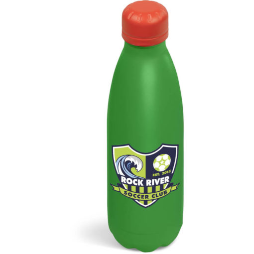 The Kooshty Wahoo Vacuum Water Bottle with a red colour lid and a green colour body.