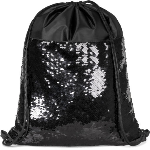 The Glitz Drawstring Bag Sequins Can Transform From Black To Silver.