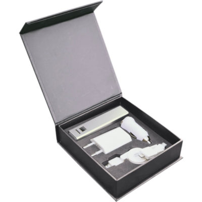 4 Piece Tech Set in Black Gift Box Comes In A Black Square Gift Box And Comes With A 2200mAh Power Bank, USB Car Charging Cable, 2 Pin Plug And A 2-1 Charging Cable All Matching In The Colour White.