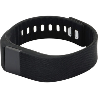 The Smartwatch In Black Is A Thin Strap Around Watch That Has Holes To Make It As Comfortable As You Want It.