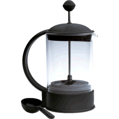 The 6 Cup Coffee Plunger Has A Semi-Circle Shaped Black Plastic Handle That Wraps From The Lid To The Base Which Are Both Also Made Of Plastic And In Black. The Middle Area, The Jug Is Made From Glass. The Press At The Top Is Made Of Black Plastic And Has A Small Round Button Presser.