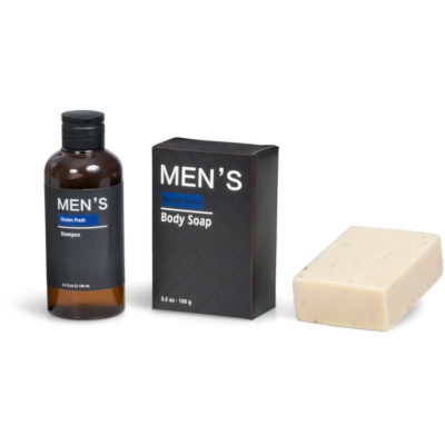 The Ocean Fresh Duo comes with a 100g mens body soap and a 100ml mens shampoo.