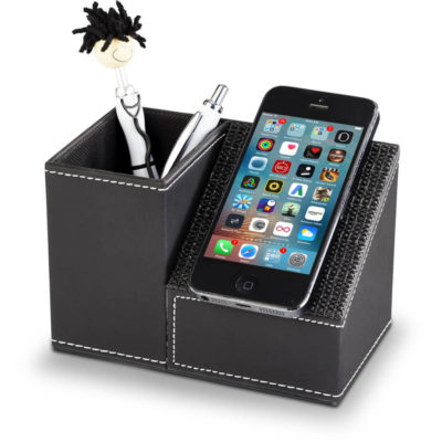 The Advantage Pen And Phone Holder in the colour black made from PU. Product size - 8.5cm (l) x 14.2cm (w) x 9.8cm (h)