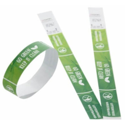 The Tyvek Litter Free Wristbands are made from waterproof tyvek material and do not create any extra litter. Displays both views of the band, both laid flat and how it looks around the wrist