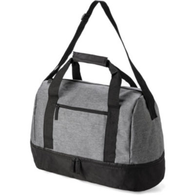 The Arena Double Decker Bag has two main zipped compartments and a front zip compartment with a adjustable shoulder strap and double carry handles.
