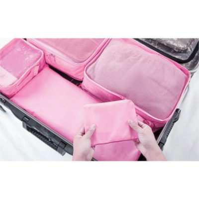 The 6-Piece Luggage Organiser Set has multiple compartments, that are water resistant nylon .