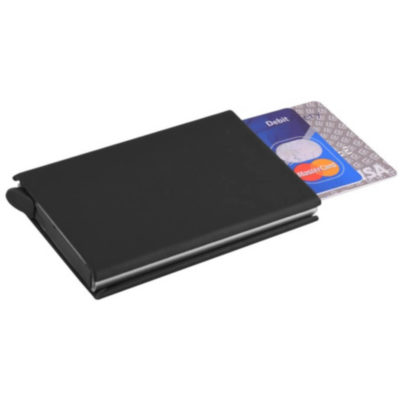 The PU Auto Pop-Up Card Holder can have up till 8 credit cards, and has a money clip.