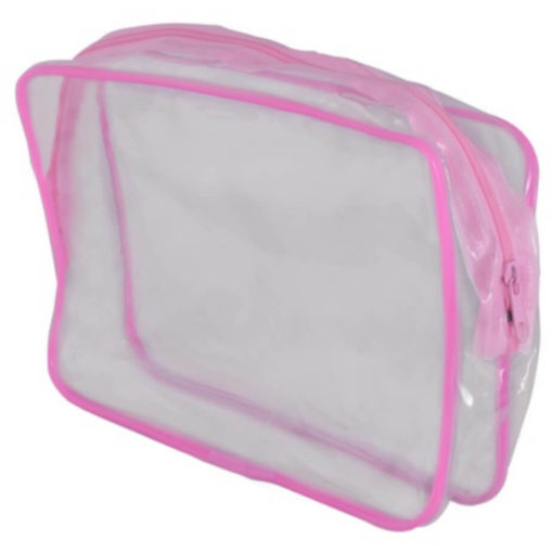 The PVC Stationery / Cosmetic Case is transparent with pink detailing along the edges and the zip.
