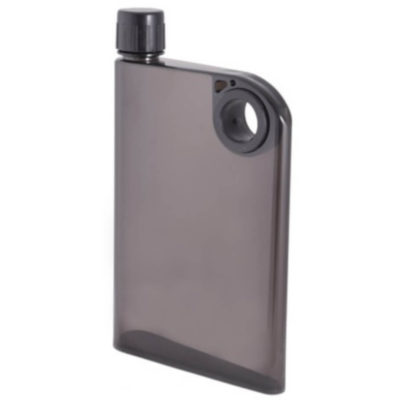 The Notebook Water Bottle in a transparent black colour and its made from a BPA free plastic.