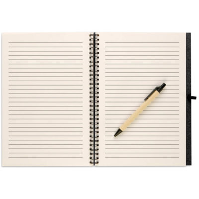 The Recycled Notebook With Pen in the colour black with a ballpoint pen that contains black ink.