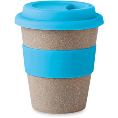 The Astoria Bamboo Tumbler is a Eco friendly travel mug that has a sipping lid and band in a matching colour.