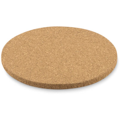 The Round Coaster is made from cork and comes in a circular shape.