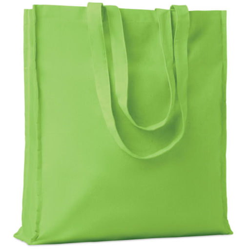 The Cotton Colour Shopper has long carry handles with added gussets, made from cotton and available in lime green.