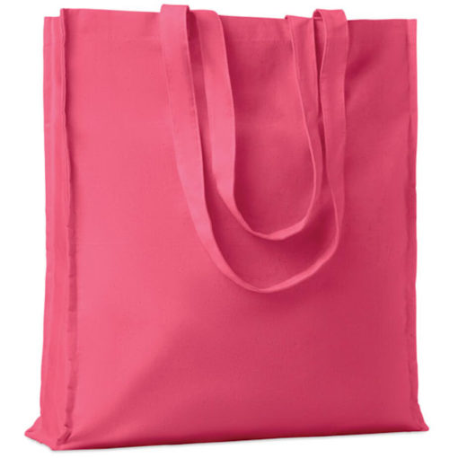 The Cotton Colour Shopper has long carry handles with added gussets, made from cotton and available in pink.