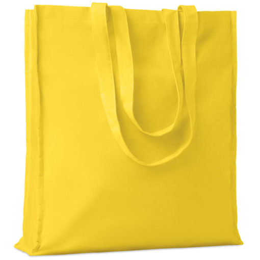 The Cotton Colour Shopper has long carry handles with added gussets, made from cotton and available in yellow.