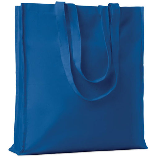 The Cotton Colour Shopper has long carry handles with added gussets, made from cotton and available in royal blue.
