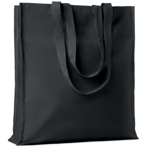 The Cotton Colour Shopper has long carry handles with added gussets, made from cotton and available in black.