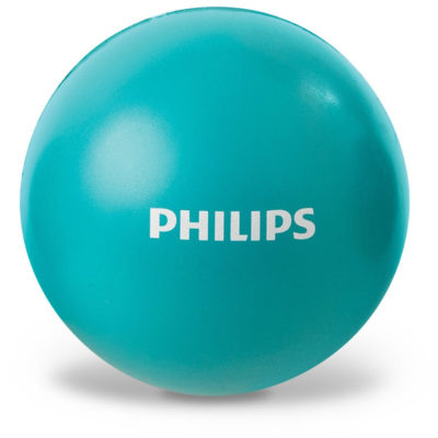 The Chill-Out Stress Ball in a bright turquoise colour is made from a soft PU material and is 7cm (dia).