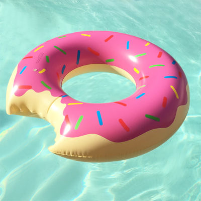 The 1.2m Tube Inflatable is a PVC inflatable floating ring to be used in the pool with a strawberry icing donut design