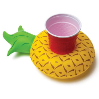 The Inflatable Cup Holder is a PVC pool accessory in a pineapple design thats inflatable and has a gap to securely hold your cup while floating around the pool as displayed