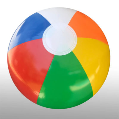 The 50cm Multi Colour Beach Ball is a PVC inflatable light weight beach ball with 6 panels in bright alternating colours.