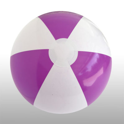 The 1.2m Beach Ball is a PVC 6 panel beach ball with alternating purple and white panels. Extra large in size