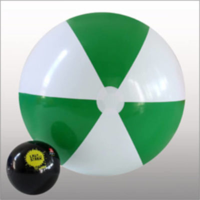 The 1.5m Beach Ball is a PVC 6 panel beach ball with alternating green and white panels. Extra large in size with a black regular size beach ball for a size comparison.