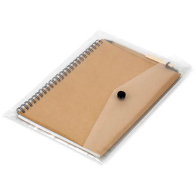 The Eco-Logical A5 Conference Set comes inside a transparent PP recycled snap bag. The notebook has 60 lined pages.