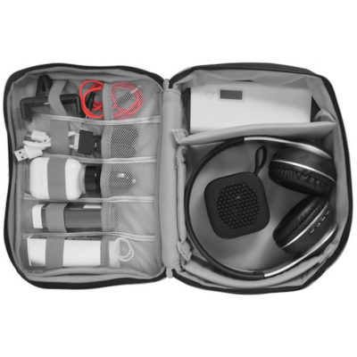 The Travel Tech Organiser is a 300D waterproof polyester carry case, with various storage compartments, dividers and a top carry handle. Open to display the various storage space and how you can place your items