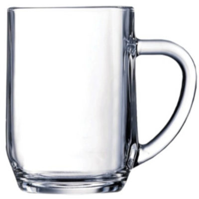 The Haworth Mug is a beer mug drinkware glass with a 590ml capacity made from glass with a thick drinking handle