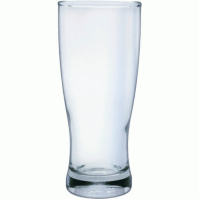 The Flared Pilsner is a curvy drinkware glass with a 375ml capacity made from glass with a thick base