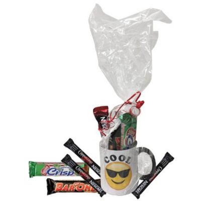 The Emoji Mocha Hamper has 3 Cappuccino Sachets, 1 Nestle Peppermint Crisp and 1 Nestle Bar One. Packed inside a white ceramic mug.