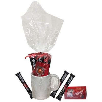 The Cup A Joe Hamper has a ceramic white mug with 3 cappuccino sachets and 1 Lindt Lindor chocolate box.