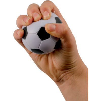 The Soccer Ball Shaped Stress Ball made from PU material and fits perfectly inside the palm of your hand.