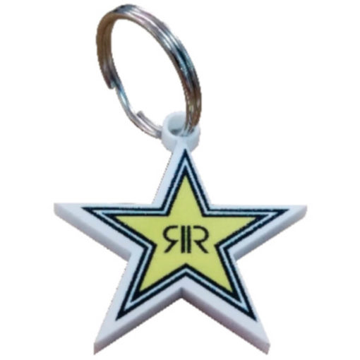 The Custom Shaped Keyring is a hard white acrylic custom shaped keyring in star shape with bright full colour print on it. With a metal split keyring