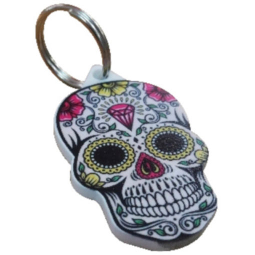 The Custom Shaped Keyring is a hard white acrylic custom shaped keyring in a skeleton head with bright full colour print on it. With a metal split keyring