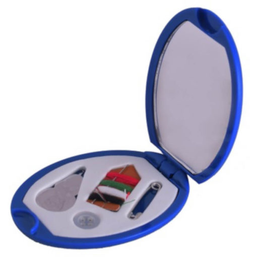 The Sewing Kit & Mirror is a blue plastic oval kit with a flip up lid to reveal a mirror on one side and a mini sewing kit on the other
