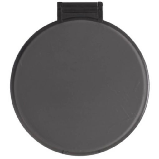 The Budget Compact Mirror is a grey round circular plastic mirror with a flip open lid