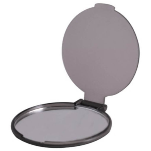 The Budget Compact Mirror is a grey round circular plastic mirror with a flip open lid and the mirror on the inside of the lid