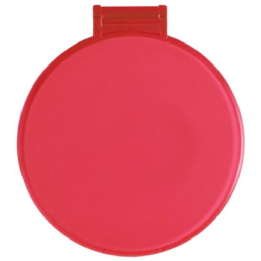 The Budget Compact Mirror is a red round circular plastic mirror with a flip open lid