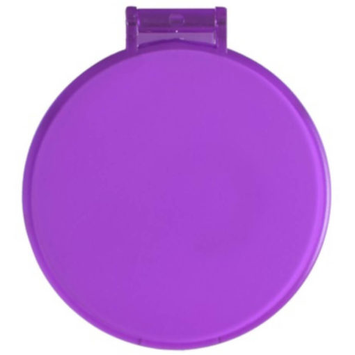 The Budget Compact Mirror is a purple round circular plastic mirror with a flip open lid