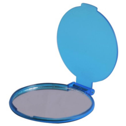 The Budget Compact Mirror is a blue round circular plastic mirror with a flip open lid and the mirror on the inside of the lid