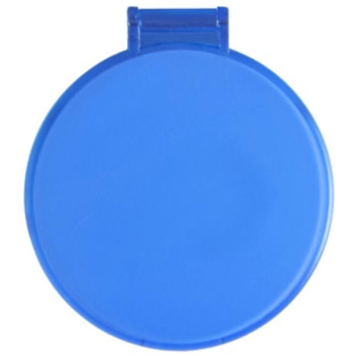 The Budget Compact Mirror is a blue round circular plastic mirror with a flip open lid