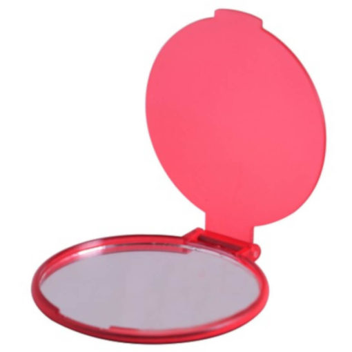The Budget Compact Mirror is a red round circular plastic mirror with a flip open lid and the mirror on the inside of the lid